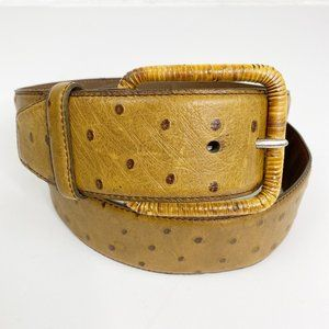 Tommy Bahama Ostrich leather/Rattan buckle Belt L